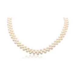 Three Row Necklace With 925-Sterling Silver Crystal Clasp