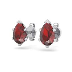 1 Carat Pear Shape Garnet Stud Earrings In Sterling Silver
