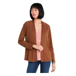 Brown Crochet Sleeve Cardigan