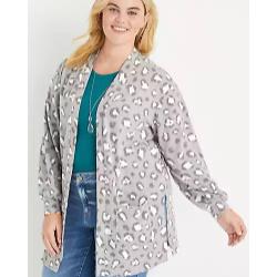Plus Size Gray Leopard Pocket Cardigan