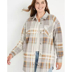 Gray Plaid Fleece Shacket
