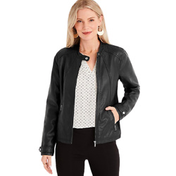 Black Faux Leather Zip Up Jacket
