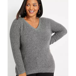 Plus Size Solid Waffle Long Sleeve Sweater