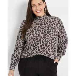 Plus Size Leopard Blouson Sleeve Mock Neck Tee