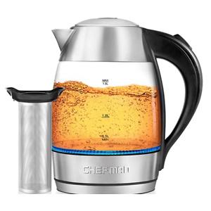 Chefman 1.8升玻璃电热水壶 带不锈钢茶滤