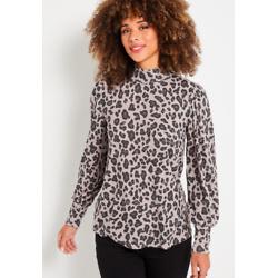 Cozy Gray Leopard Mock Neck Tee