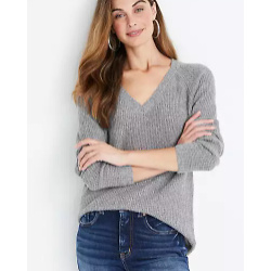 Solid Waffle Knit V Neck Sweater