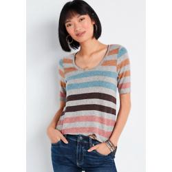 24/7 Multi Stripe Flawless Tunic Tee