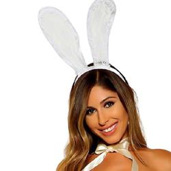 白色蕾丝兔耳头带服饰配饰