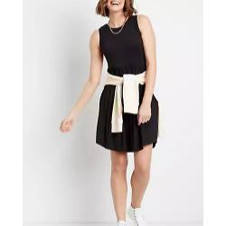 24/7 Black Empire Waist Pocket Dress