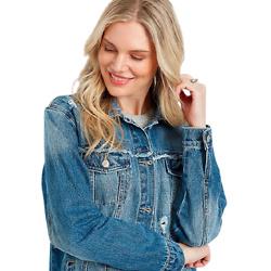 KanCan™ Medium Destructed Oversized Denim Jacket