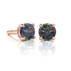 Carat Round Shape Mystic Topaz Stud Earrings In 14K Rose Gold Over Sterling Silver