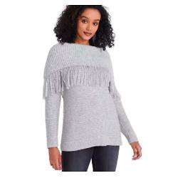 Cowl Neck Fringe Sweater