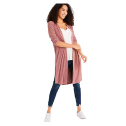 Pink Ribbed Duster Cardigan
