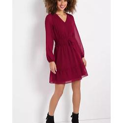 Berry Smocked Waist Mini Dress