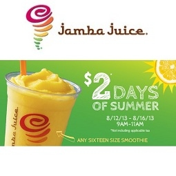 Jamba Juice: Any 16 oz Smoothie for $2