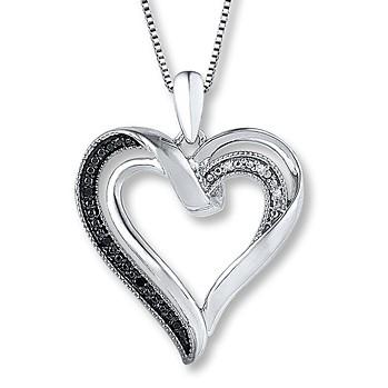 Kay's 黑色和白色钻石的心型纯银项链