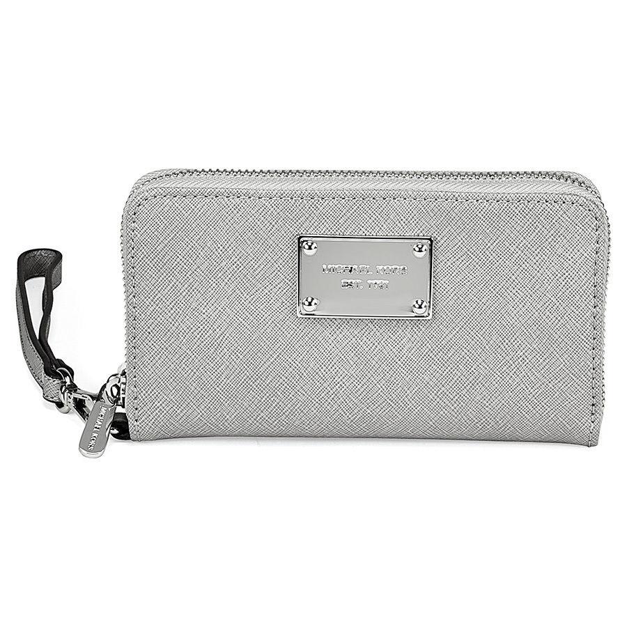 Michael Kors珍珠灰色皮革PVC小包