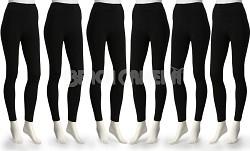 Ezi 6 Pack Midnight Black Fleece Lined Leggings X Large Size