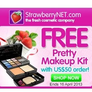 StrawberryNET 官网:购物满$50即可免费获赠 Pretty 彩妆盒