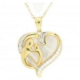 DiamondPrincess 18 K镀金银纯珍珠母白蓝宝石心形吊坠项链