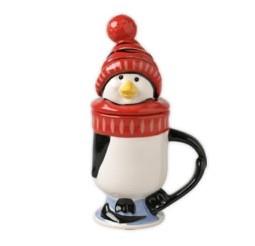 Penguin Skate Covered Mug - Red Hat