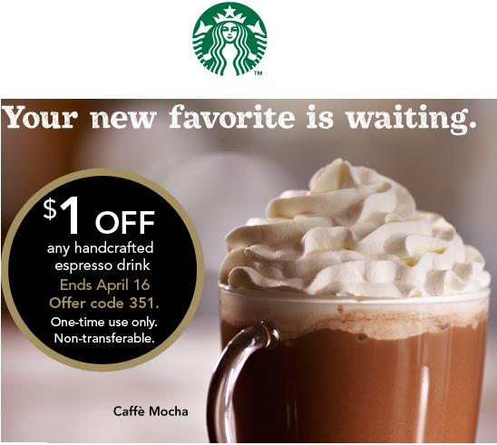 Starbucks 星巴克打印优惠券:任意手工 Espresso 饮品可享$1 OFF(会员专享)
