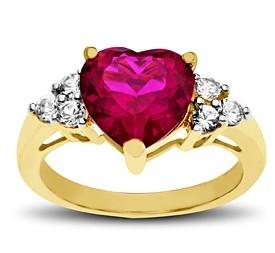 Ruby and White Sapphire 心形红宝石和白色蓝宝石镶嵌精美18K镀金纯银戒指