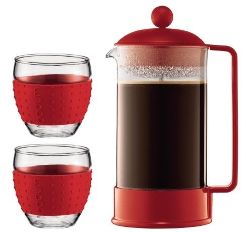 Brazil Set Coffee Maker, 8 cup, 1.0 l, 34 oz and 2 pcs mug, 0.35 l, 12 oz Red