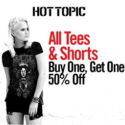 Hot Topic 官网:精选T恤、短裤买一件第二件半价优惠