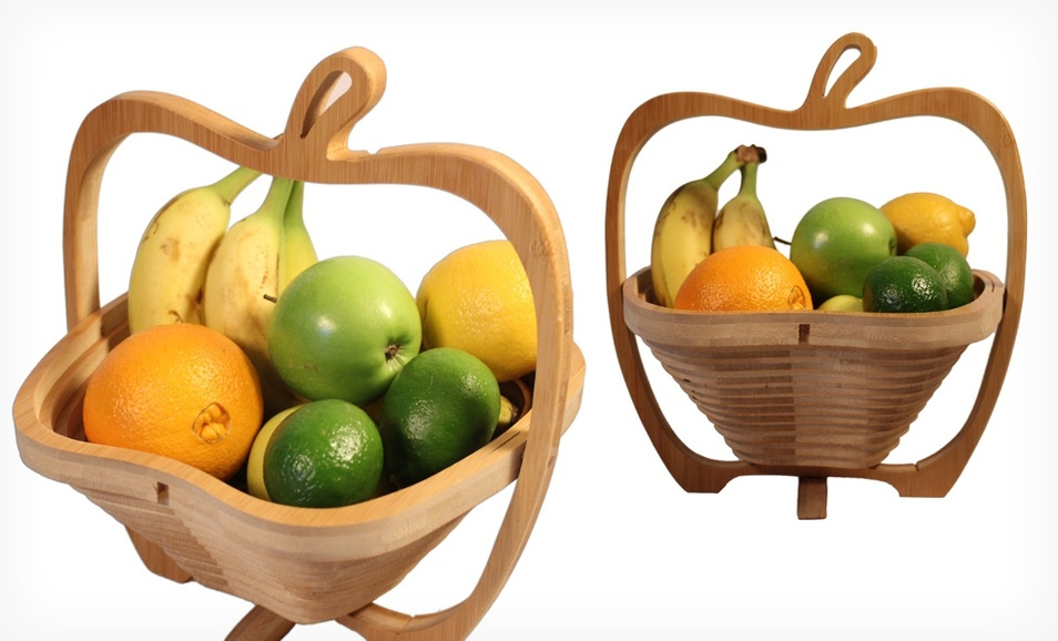 Groupon: 可折叠式竹质水果篮
