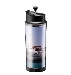 Travel Press Coffee Maker with Lid, Interchangeable Insert to Create Your Own, 0.45 l, 15 oz Black