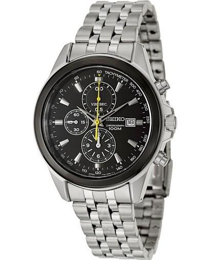 SEIKO 精工SNDF09 三眼计时男式不锈钢手表