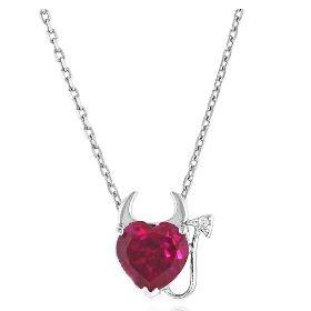 Netaya 今日特卖: 2克拉红宝石小恶魔之心银吊坠
