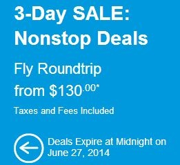 3-Day SALE: Nonstop Deals Fly Roundtrip from $130