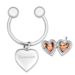 Limoges Jewelry: Engraved Heart Locket Key Chain