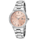 Bulova Women's Diamond SS Peach Dial Indices Markers Watch