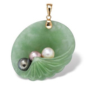 Genuine Green Jade and Freshwater Pearl 14k Yellow Gold Shell Pendant