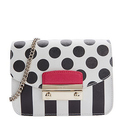 Furla Black And White Polka Dot Leather 'Julia' Mini Crossbody