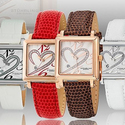 Stührling Original Women's Swiss Diamond Valetine Stainless Steel Case Leather Strap Watch