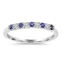 Bliss Diamond 1/4 CTTW Blue Sapphire and Round Cut Diamond Wedding Ring
