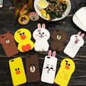 Cute 3D Line Friends Bear Bunny Sally Rubber Soft Cover Case for iPhone