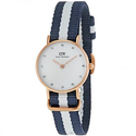 DW Classy Glasgow White Dial Blue and White Stripe Nylon Ladies Watch