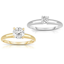 1/4 Carat to 2.00 Carat Certified Diamond Solitaire Rings in 18K Gold