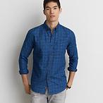 男士蓝色格纹衬衫