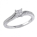 Amour 1/5 CT Princess and Round Diamonds TW Fashion Ring 10k White Gold
