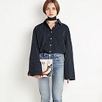Navy Pinstripe Oversize Shirt