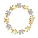 Brilliant Diamond Gold Plated Diamond Accent Elephant Bracelet
