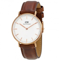 Daniel Wellington St Andrews White Dial Brown Leather Ladies Quartz Watch