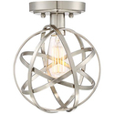 "Industrial Atom 8"" Edison Brushed Nickel Ceiling Light"